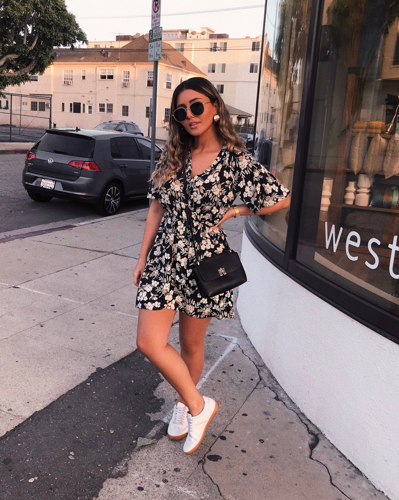 how to style, dress and sneakers outfit, floral dress, summer 2018 trends, mango crossbody, zara floral dress, dark florals, asos sneakers, affordable outfit, Pinterest, outfit idea, how I style, fashion blogger, quay Australia sunglasses, asos hoops, summer 2018 outfit, Parmida Kiani,