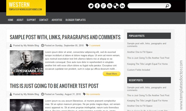 western templatedoctor~1 Best WordPress Converted Free Blogger Templates of 2013