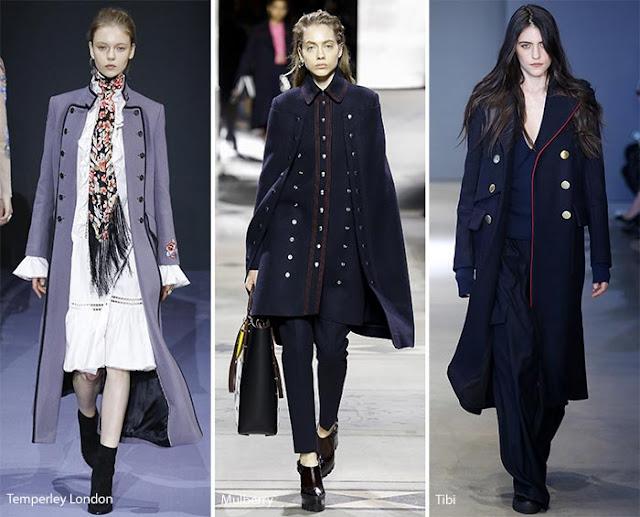 Образы с пальто в стиле милитари с подиума