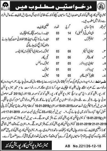 Jobs in Metropolitan Corporation Quetta Dec 2018