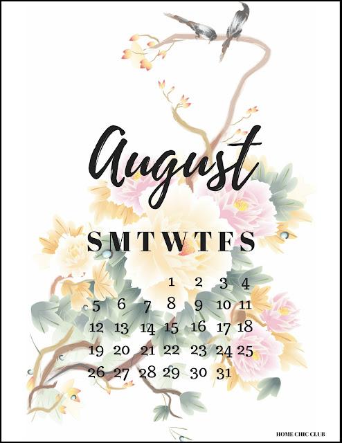 August 2018 Calendar Free