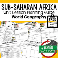 Africa geography lesson plans, world geography lesson plans, geography activities, world geography games, world geography middle school, world geography high school