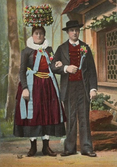 Wedding couple from Germany in traditional attire