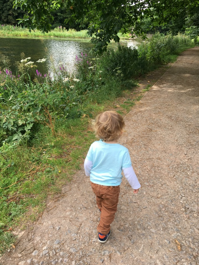 Tredegar-House-&-gardens-a-toddler-explores-toddler-walking-along-side-a-lake