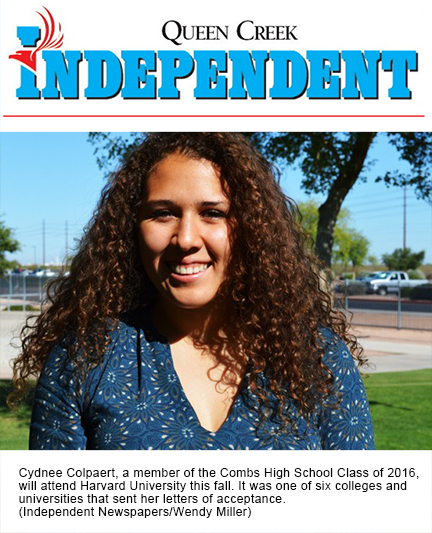 snaphsot of QC Independent photo and story.  Text: Cydnee Colpaert, a member of the Combs High School Class of 2016,  will attend Harvard University this fall. It was one of six colleges and  universities that sent her letters of acceptance.  (Independent Newspapers/Wendy Miller)
