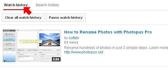 youtube watch history