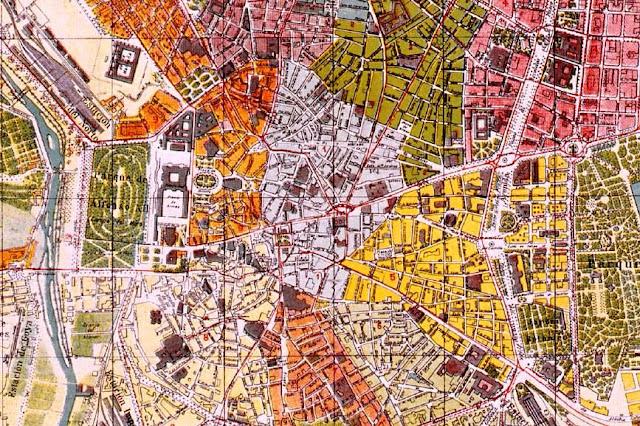 El centro de Madrid en un plano de principios del siglo XX publicado por El Noticiero-Guía de Madrid