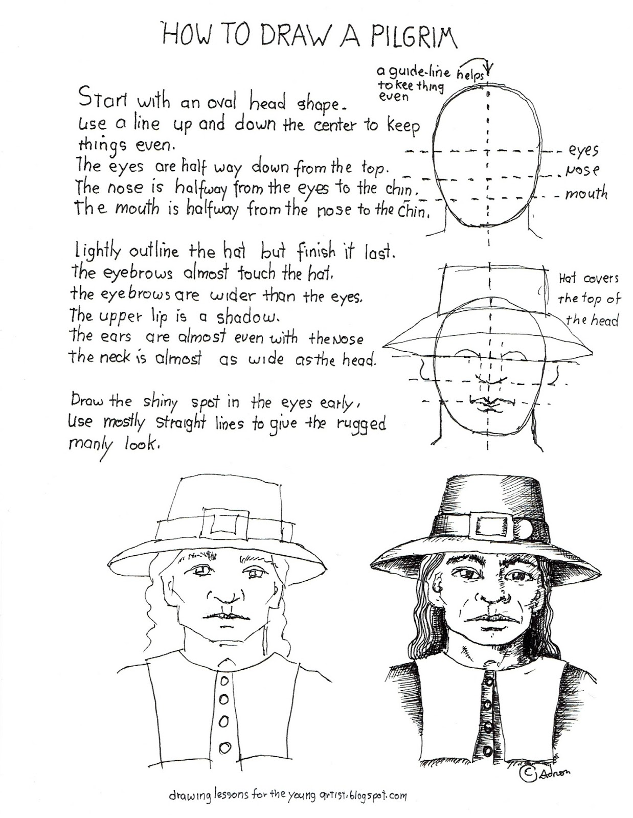 How To Draw Worksheets For The Young Artist How To Draw A Pilgrim Man S Face Worksheet