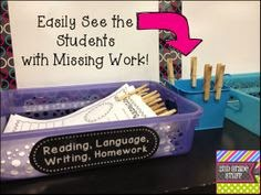 keeping track of who hands in work, clothes pins to track student work