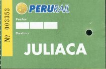 PeruRail ticket to Juliaca
