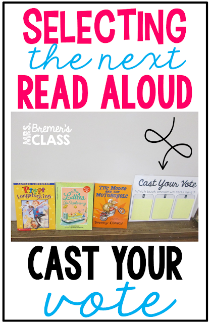 A fun way to choose the next read aloud- have students vote, and the one with the most votes wins! #readalouds #2ndgrade #teachertips #reading #education