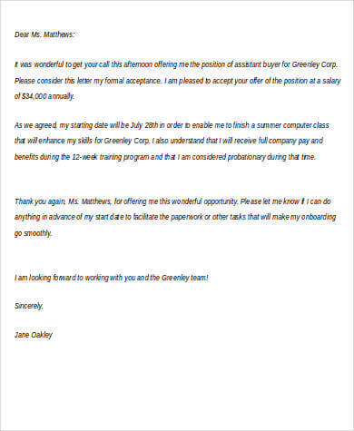 Thank You Letter For Job Offer Pdf