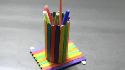 Cara Membuat Tempat Pensil Bulat dari Stik Es Krim