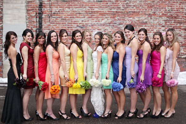 For A Chic Rainbow Wedding We Love The Idea Of Dressing Each Individual Bridesmaid In Diffe Color With Matching Bouquet
