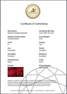 Echtheitszertifikat Centaura Diamonds