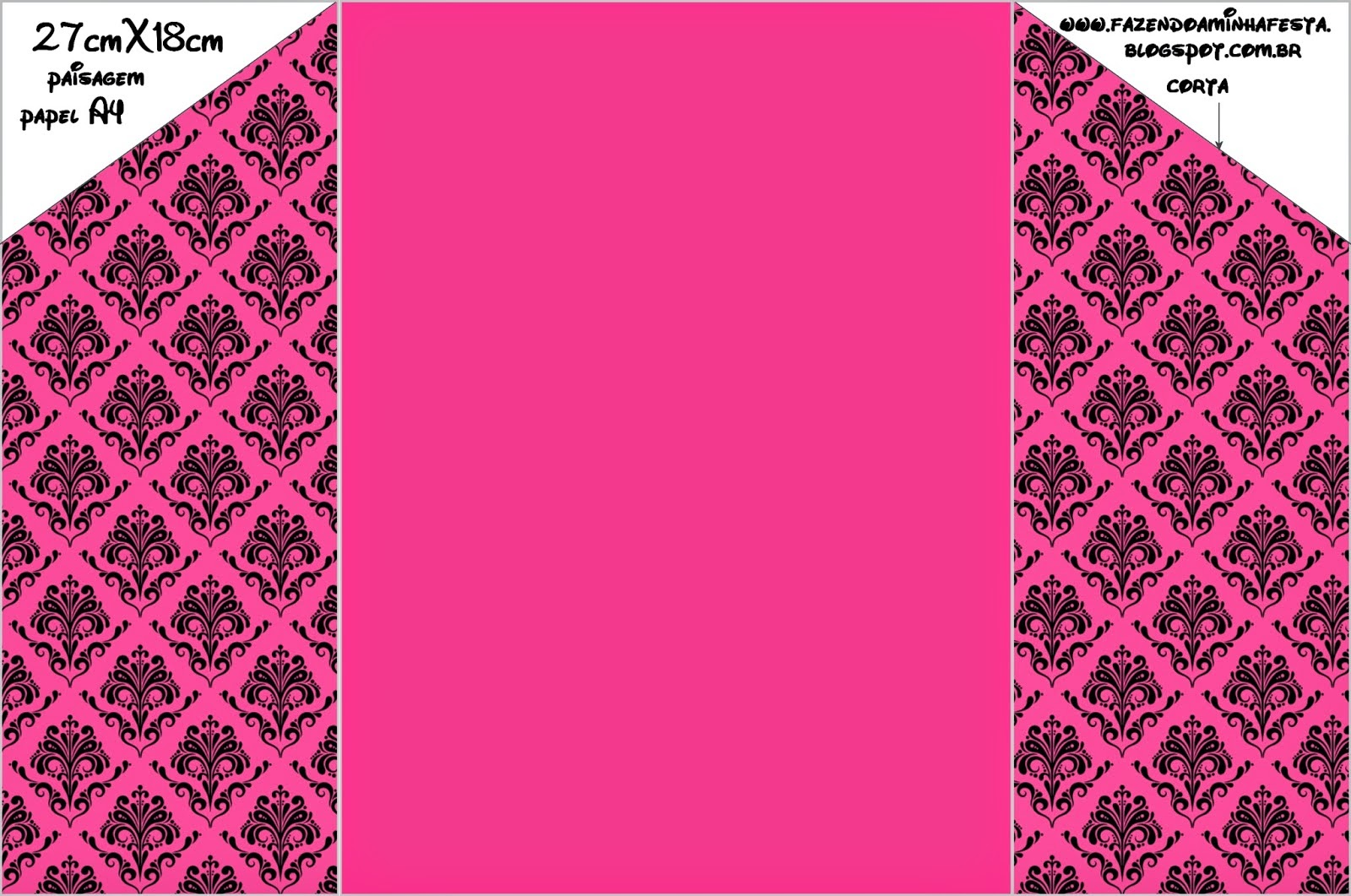 Damask Black In Fucsia: Free Printable Party Invitations