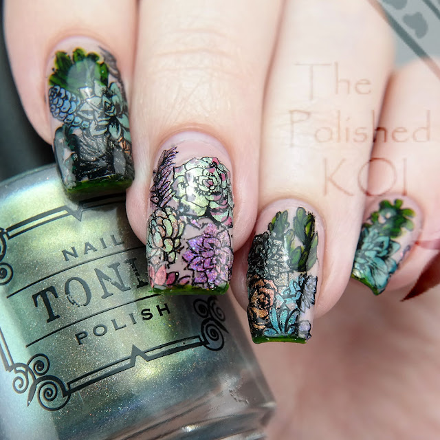 Tonic Polish assorted succulents nail art