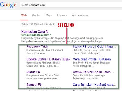 Cara mendapat Sitelink dengan mudah terbaru