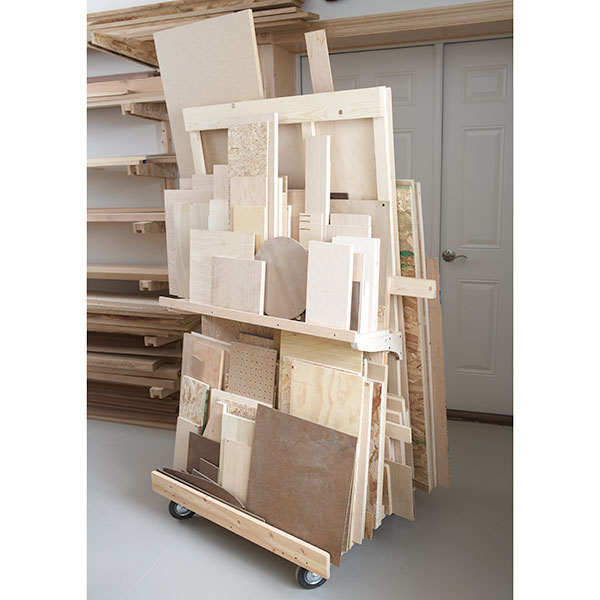 How to store sheets of wood in the garage - Lumber cart