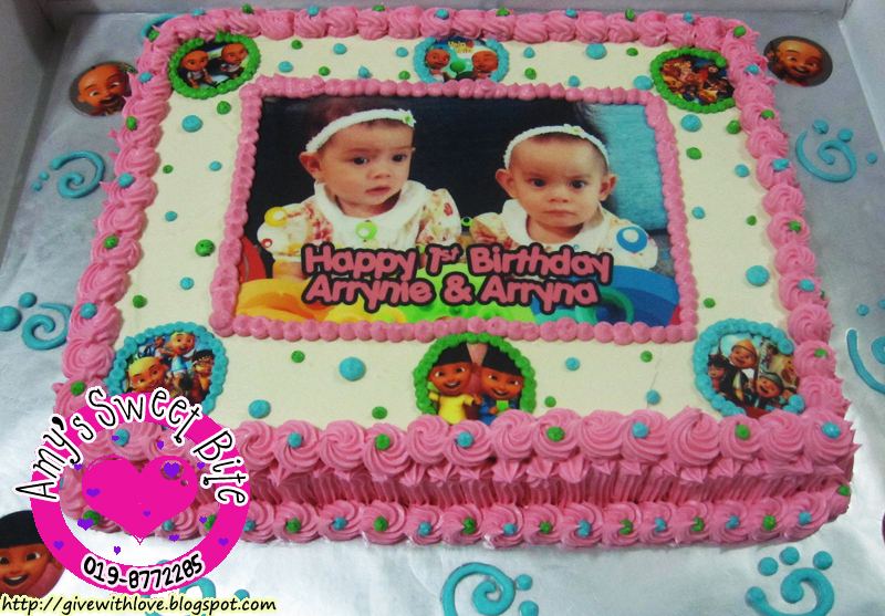 Amys Sweet Bite 1 Year Old Birthday Cake Upin Ipin Theme