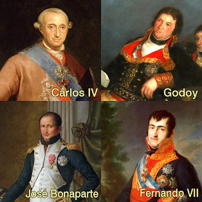 Retratos de Carlos IV, Godoy, José Bonaparte y Fernando VII