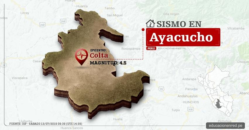 Temblor en Ayacucho de Magnitud 4.5 (Hoy Sábado 13 Julio 2019) Sismo - Epicentro - Colta - Páucar Del Sara Sara - IGP - www.igp.gob.pe