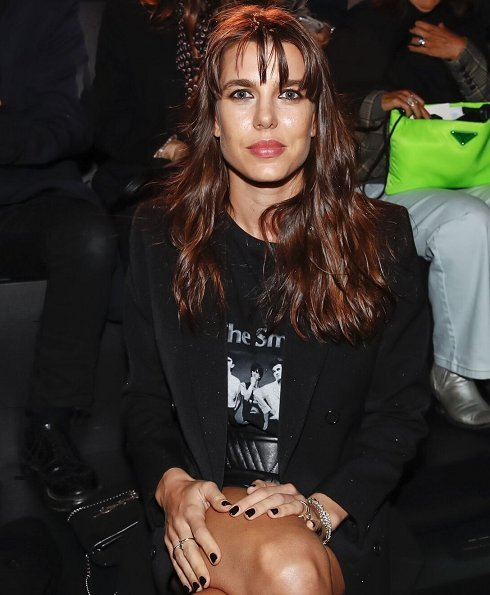 Charlotte Casiraghi attended the Saint Laurent Womenswear Spring/Summer 2020 show at Paris Fashion Week