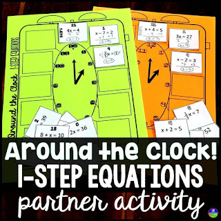 One Step Equations Around the Clock Partner Scavenger Hunt Activity