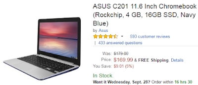 best cheap laptop deal under 200 - ASUS C201 11.6 Inch Chromebook (Rockchip, 4 GB, 16GB SSD, Navy Blue)