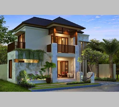 desain rumah kayu minimalis 2 lantai dari jati ulin dan
