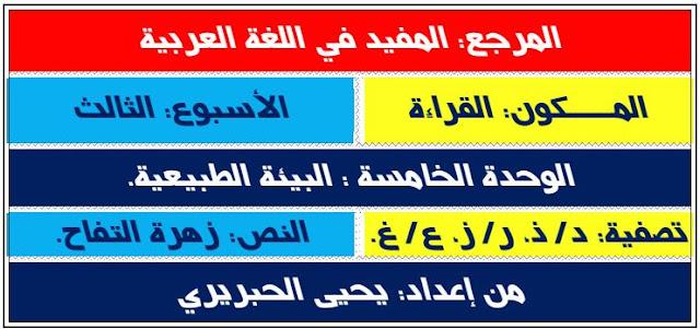 المستوى الأول جذاذات الوحدة.5 الأسبوع.3 المفيد في اللغة العربية