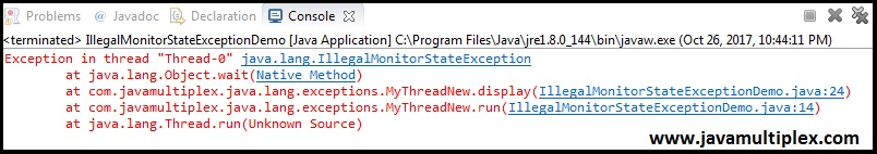 Output of IllegalMonitorStateException.
