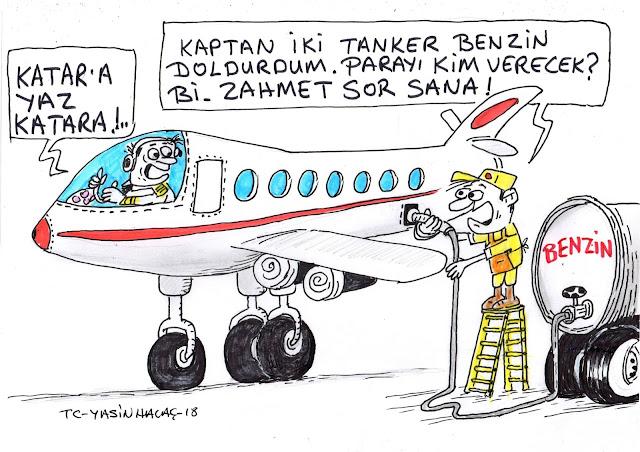 katar uçak benzin karikatür