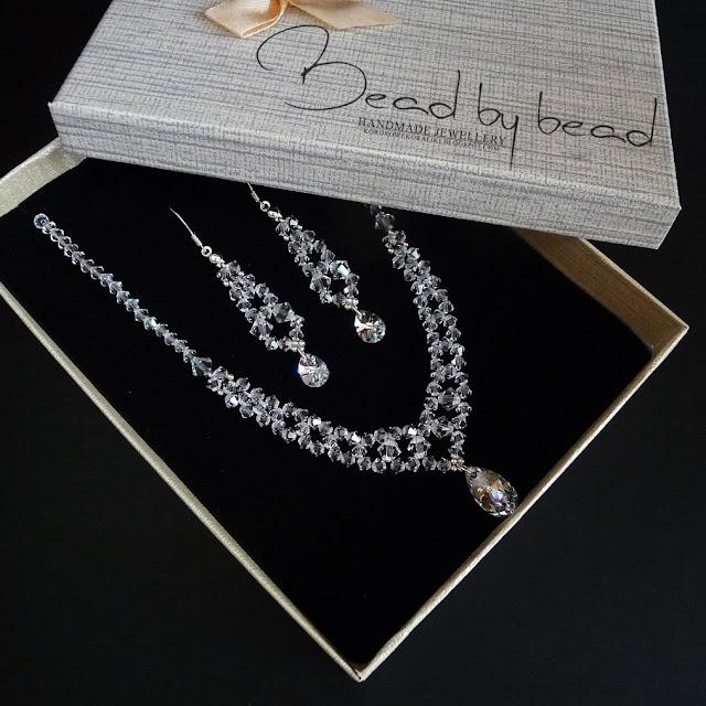 komplet ślubny swarovski crystal | naszyjnik swarovski | kolczyki swarovski