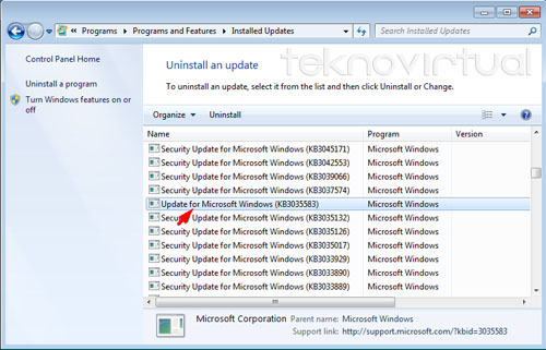 Update for Microsoft Windows (KB3035583)