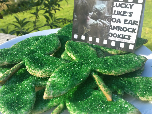 Lucky Luke's Yoda Ear Shamrock Cookies Star Wars Party Food