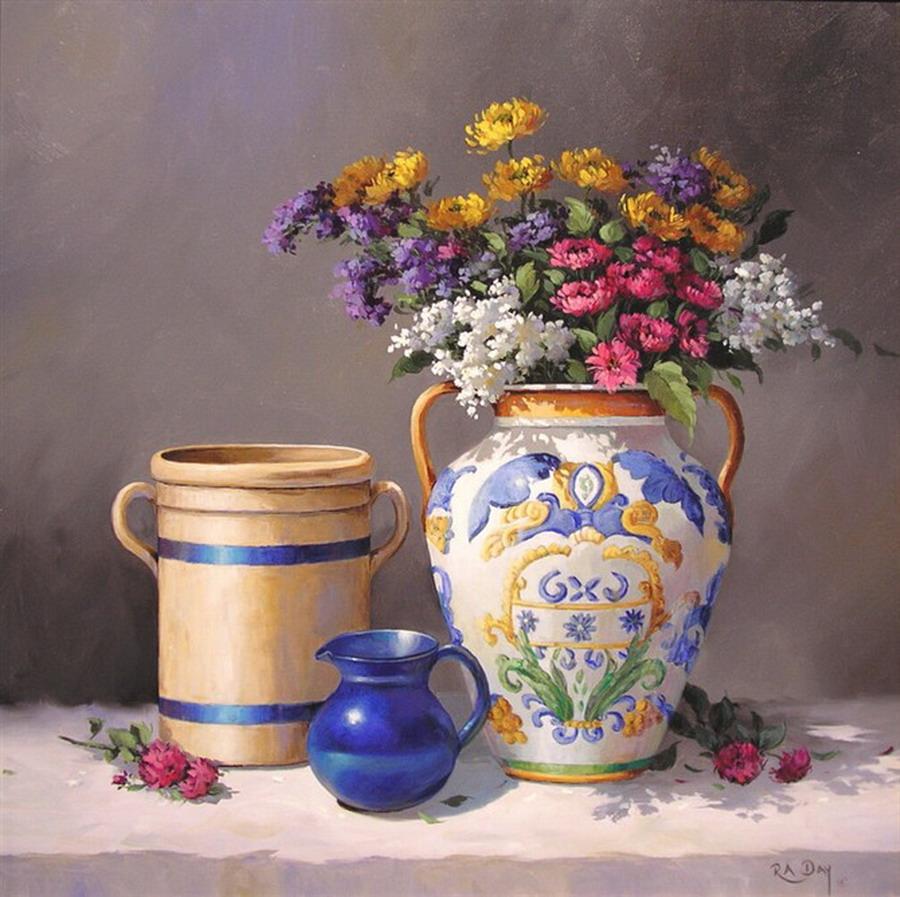 Im genes arte pinturas bodegones con jarrones artesanales - Fotos jarrones con flores ...