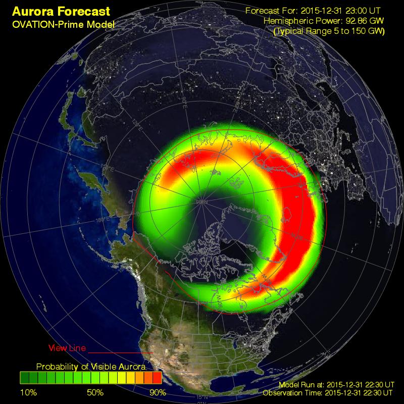 Owal zorzowy według modelu OVATION z 31.12.2015 r. z godz. 23:50 CET na 10 minut przed zakończeniem roku. Prognoza wyraźnie wskazywała na obecność zórz polarnych nad umiarkowanymi szerokościami geograficznymi i jak pokazała praktyka, nie był to stan zawyżony. (SWPC)