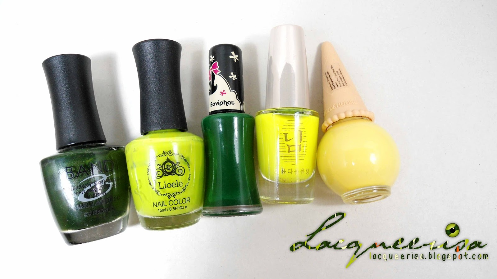 Lacqueerisa: Red-Eared Slider Inspired Nails, nail polishes used