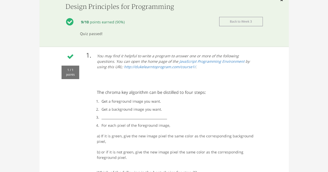 Week 3 Design Principles For Programming Final Quiz Solutions