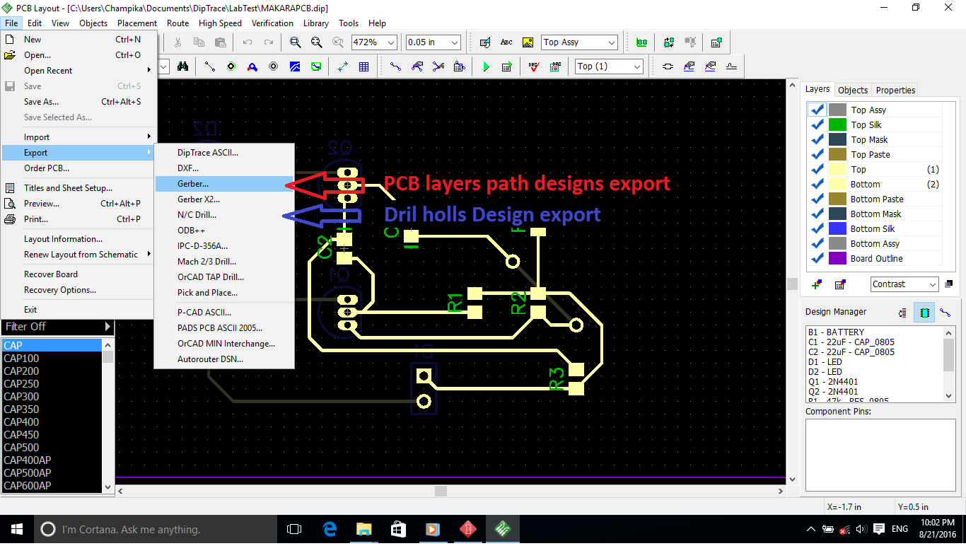 ChampLnx: PCB designing with Dip Trace - [PCB series Part 2]