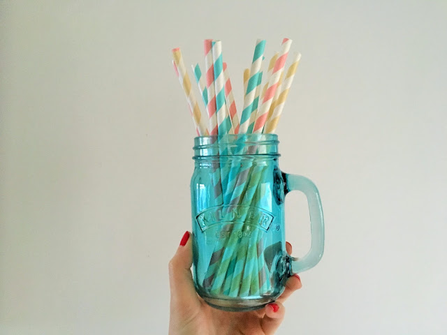 Kilner Jar. Colourful vintage paper straws.