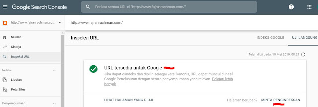 Cara Submit URL ke Fetch As Google