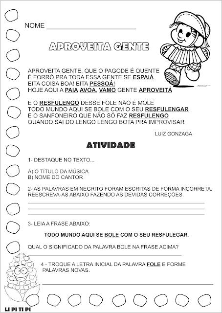 Atividade Festas Juninas Luiz Gonzaga o Rei do Baião  Música Aproveita Gente