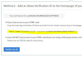Verifikasi Blog di Alexa
