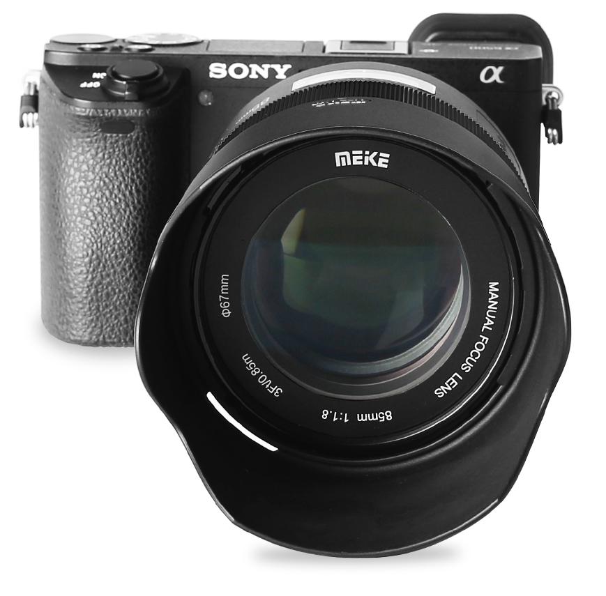 Объектив Meike 85mm f/1.8 с камерой Sony