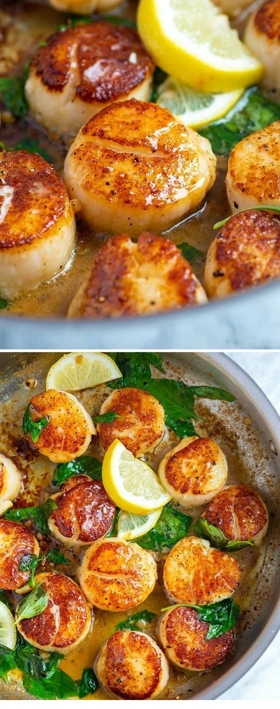 Seared Scallops With Garlic Basil Butter