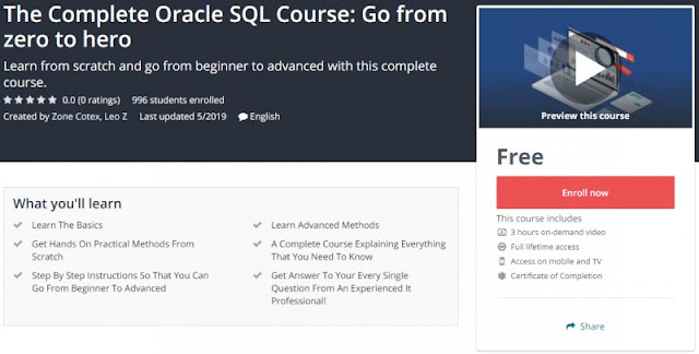 [100% Free] The Complete Oracle SQL Course: Go from zero to hero