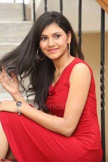 Mounika Telugu Actress in Red Sleeveless Dress Black Boots Spicy Pics 054.JPG