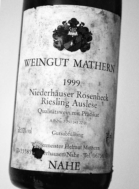 Niederhäuser Rosenheck Riesling Auslese des Jahrgangs 1999 aus dem Weingut Mathern in Niederhausen an der Nahe
